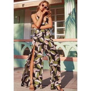 Lulu's San Tropez Black Print Jumpsuit